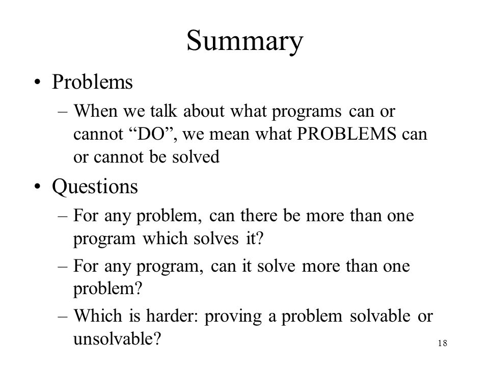 Summary Problems Questions