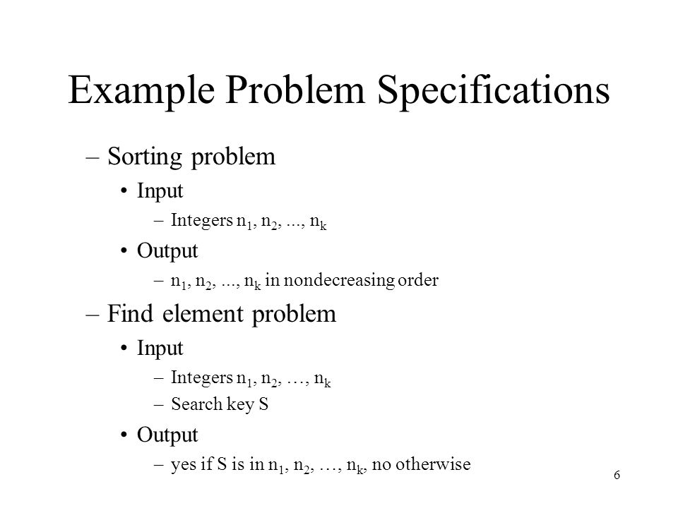 Example Problem Specifications