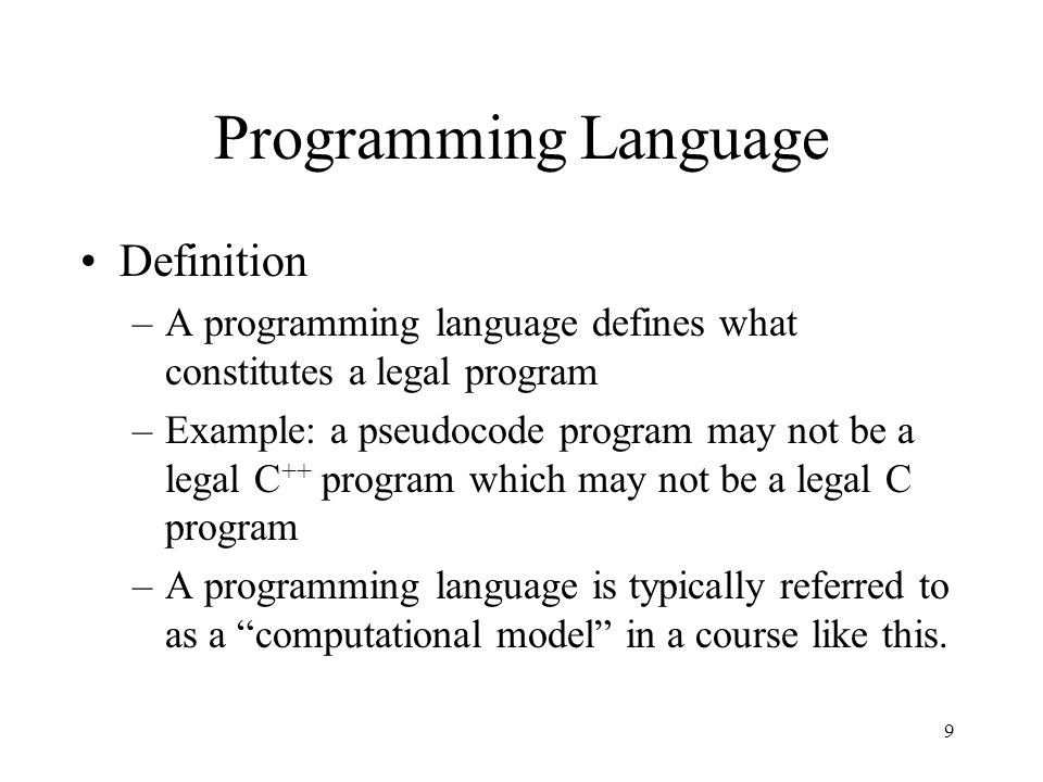 Programming Language Definition