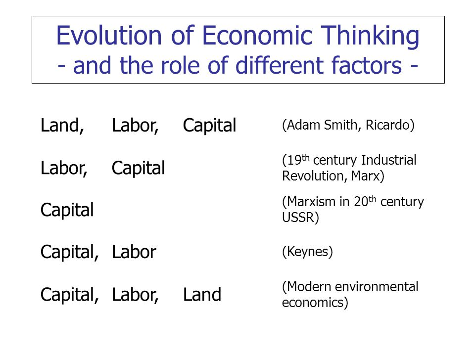 land and capital in economics Four basic types of economics resources: land - natural resources such as iron ore, gold, diamonds, oil, etc labor - human resources such as wage-earning workers capital - plants and equipment used in the production of final goods, such as assembly lines, trucks, heavy duty machinery, factories, etc entrepreneurship - the marshaller.