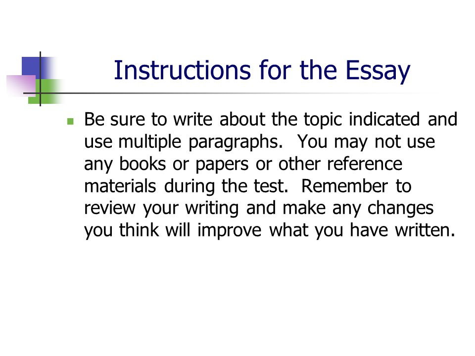 instructions on how to write an essay Graded essay/short answer assignment instructions view a sample essay and break down of how to write an essay and cite sources.