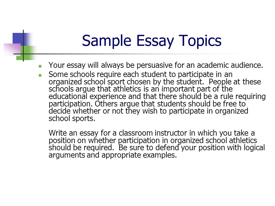 essay sample topics Check out these sample college application essays to see what a successful college application essay looks like and stimulate your own creativity.