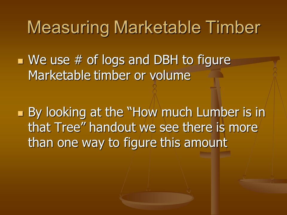 Measuring Marketable Timber
