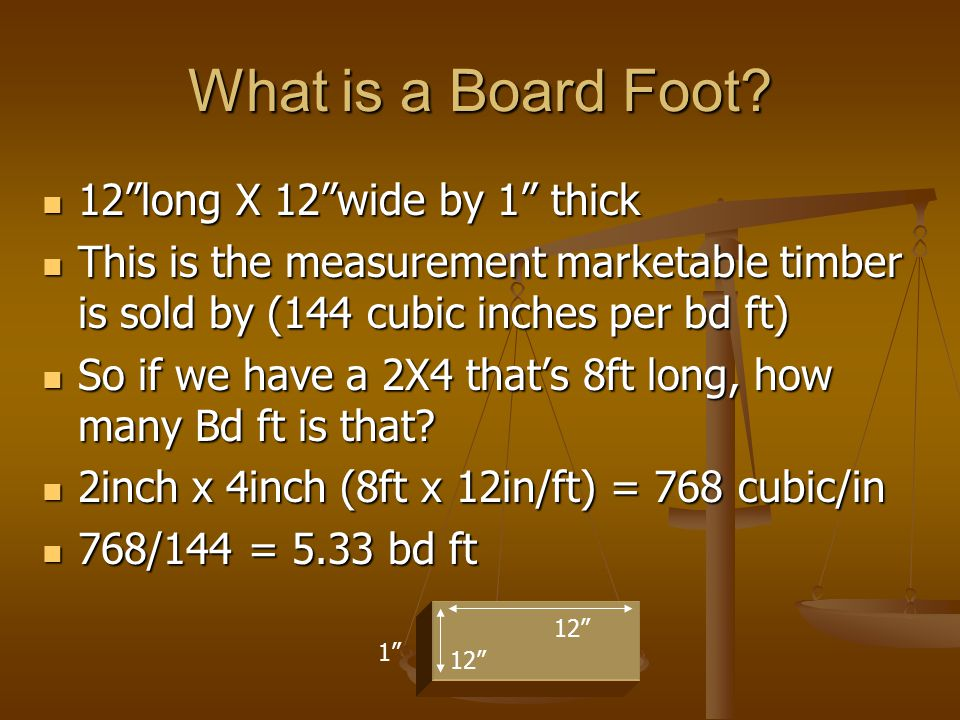 What is a Board Foot 12 long X 12 wide by 1 thick