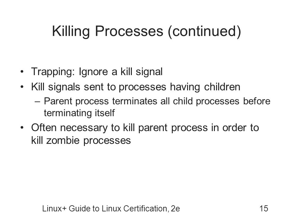 Killing Processes (continued)