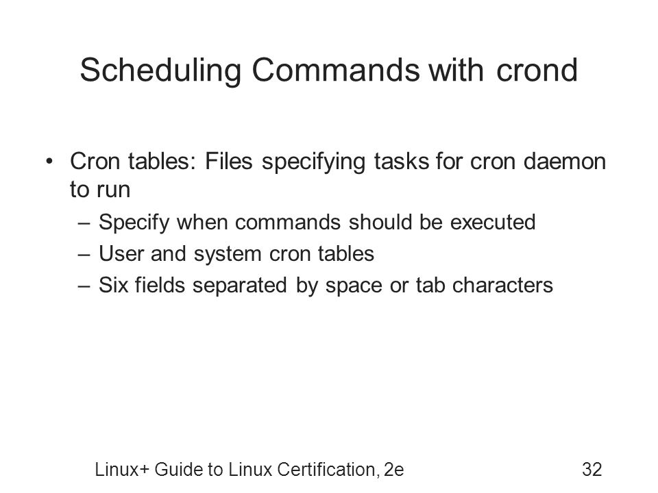 Scheduling Commands with crond