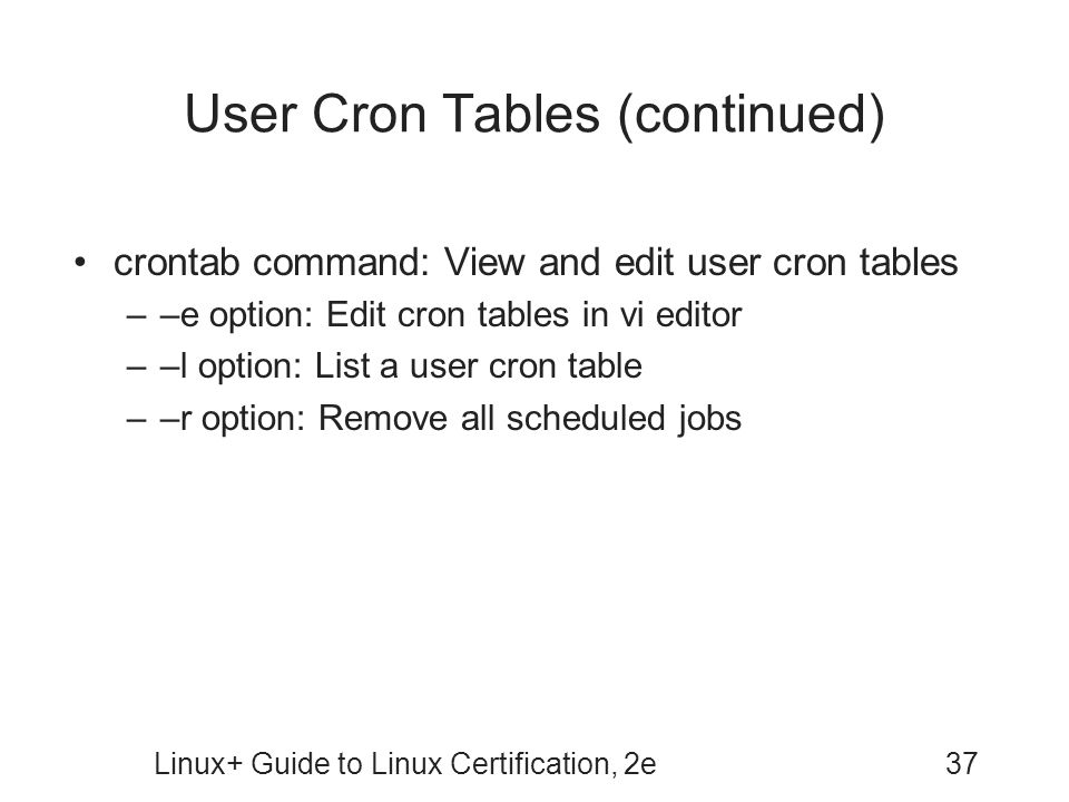 User Cron Tables (continued)