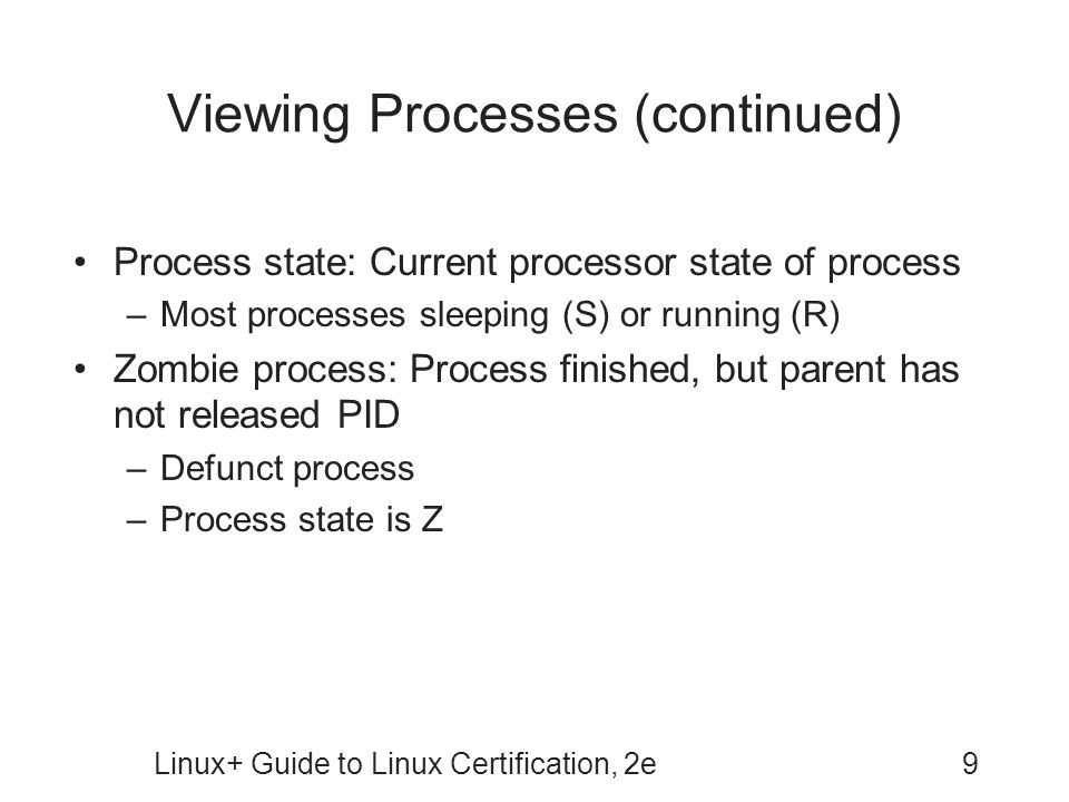Viewing Processes (continued)
