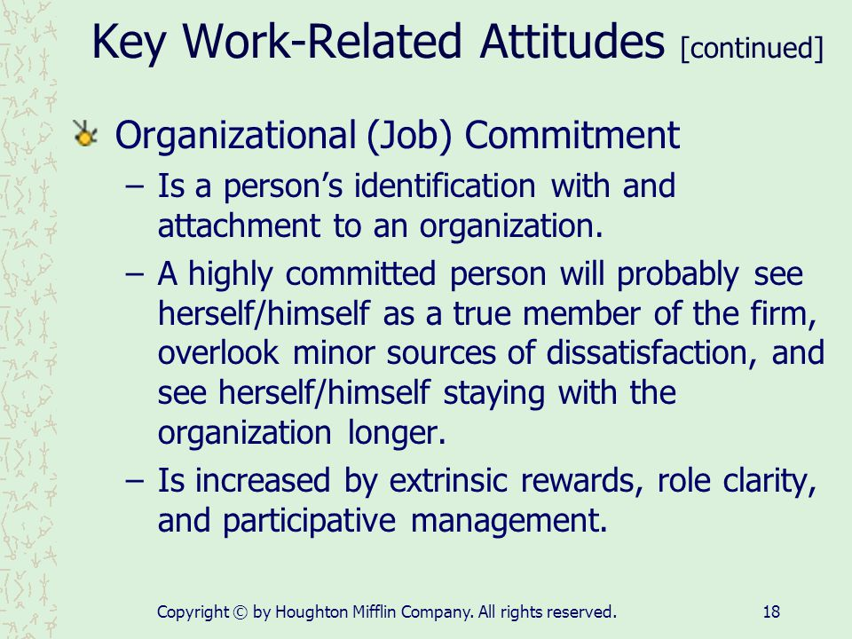 Key Work-Related Attitudes [continued]