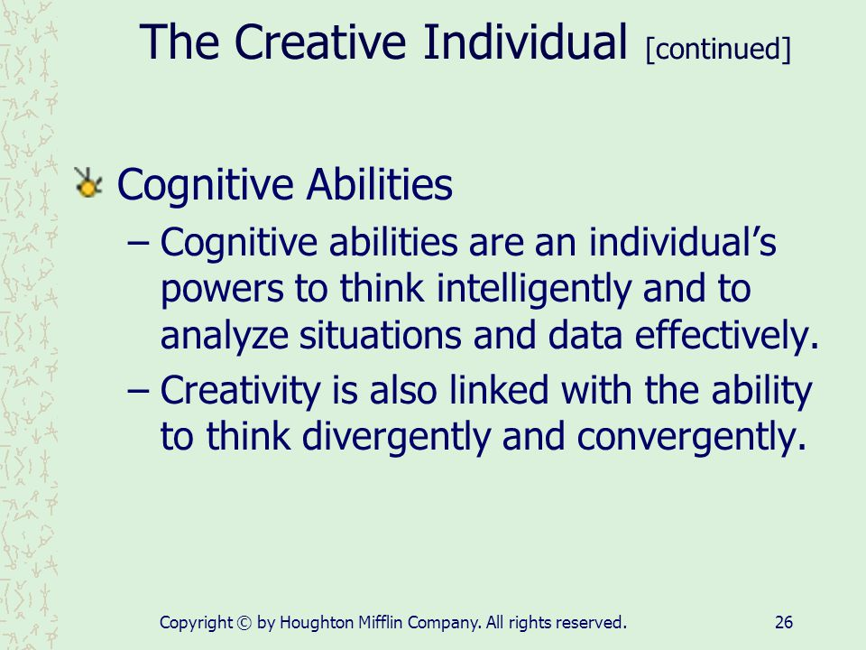 The Creative Individual [continued]