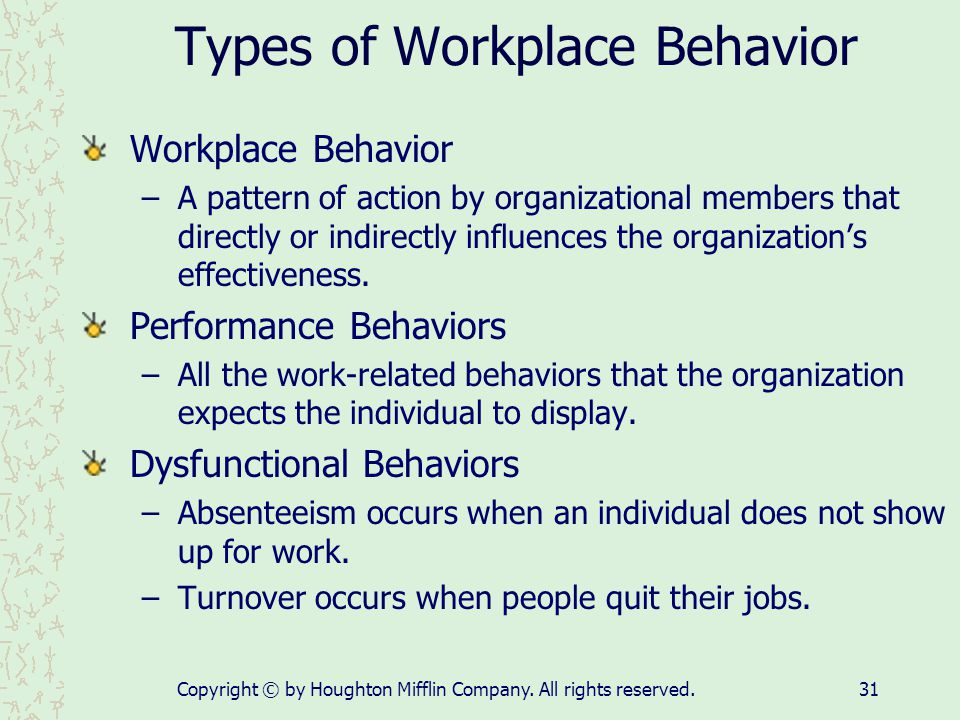 Types of Workplace Behavior