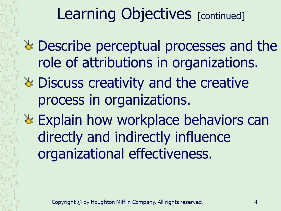 Learning Objectives [continued]