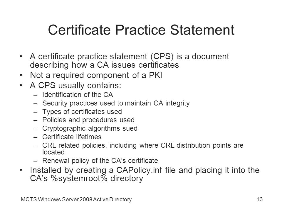 Chapter 11 active directory certificate services ppt video certificate practice statement yadclub Image collections