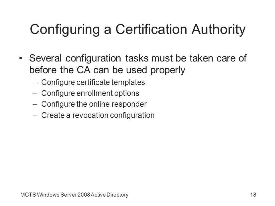 Configuring a Certification Authority