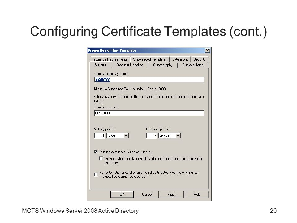 Chapter 11 active directory certificate services ppt video 20 configuring certificate yadclub Gallery