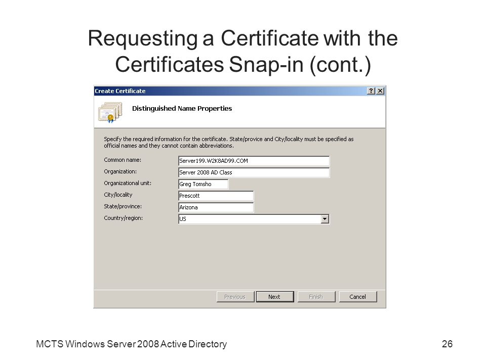 Requesting a Certificate with the Certificates Snap-in (cont.)