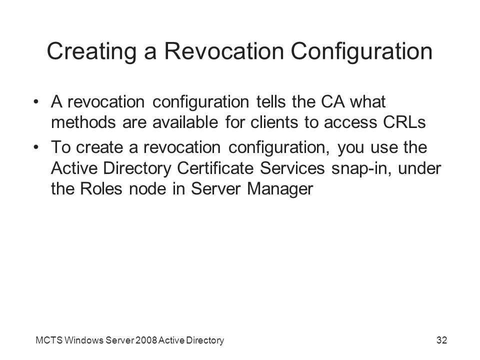 Creating a Revocation Configuration