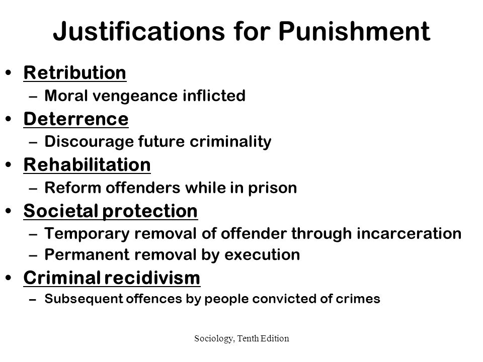 what justifications for punishment does incarceration meet