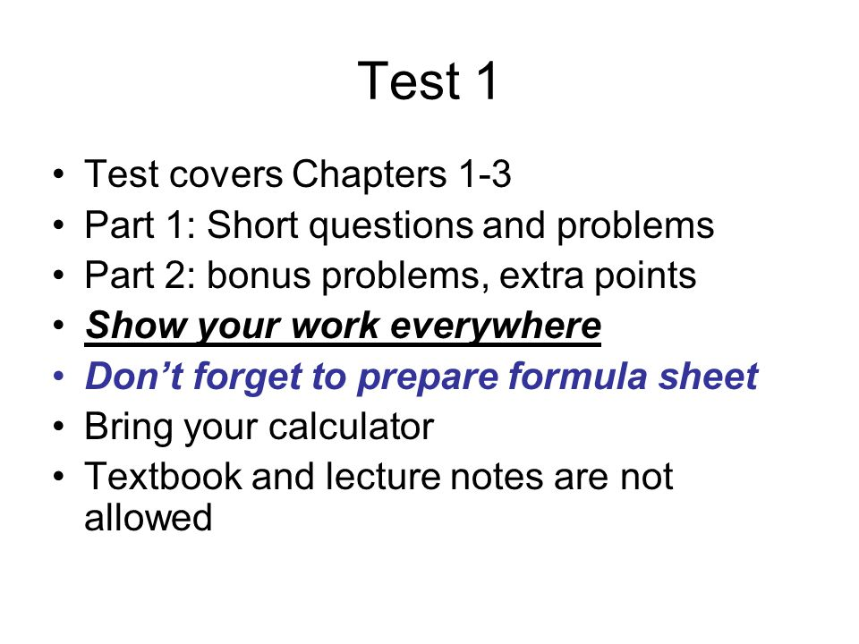 Test 1 Test covers Chapters 1-3 Part 1: Short questions and problems ...