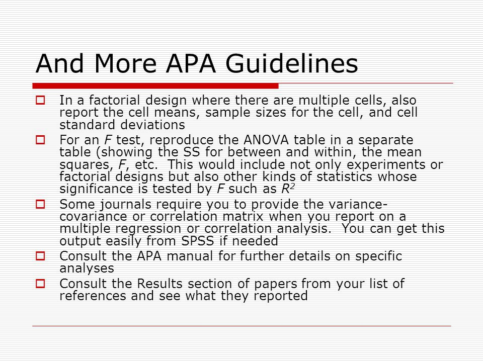 an introduction to the analysis of apa statistical guidelines Take the uncertainty out of citing in apa format with our guide review the  fundamentals of apa format and learn to cite several different source types using  our.