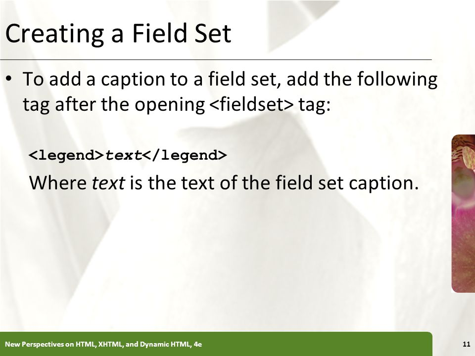 Creating a Field Set To add a caption to a field set, add the following tag after the opening <fieldset> tag: