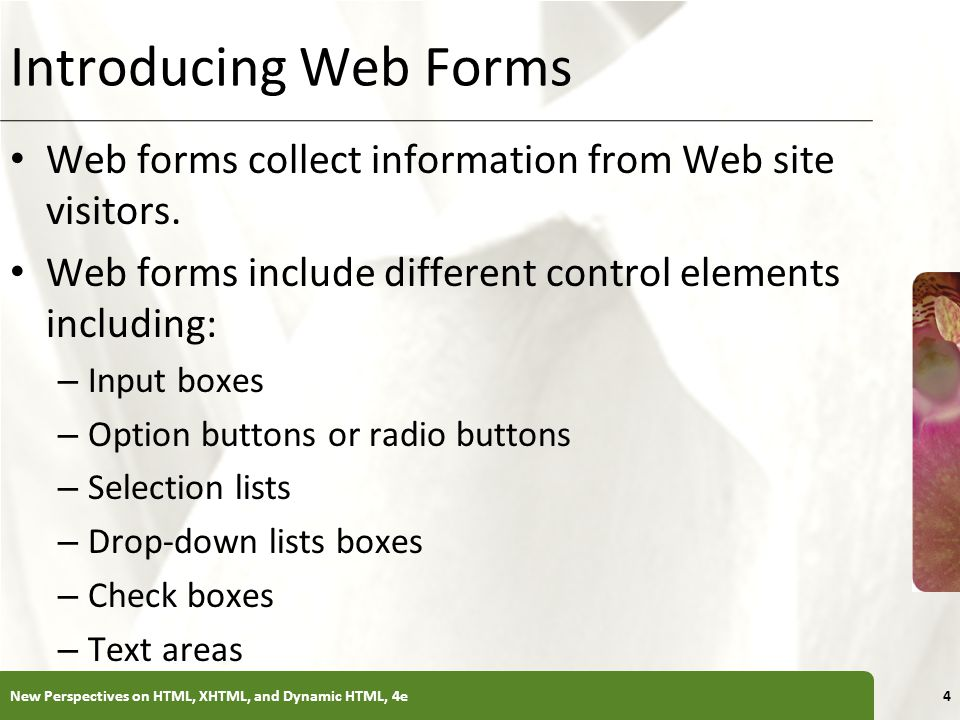 Introducing Web Forms Web forms collect information from Web site visitors. Web forms include different control elements including: