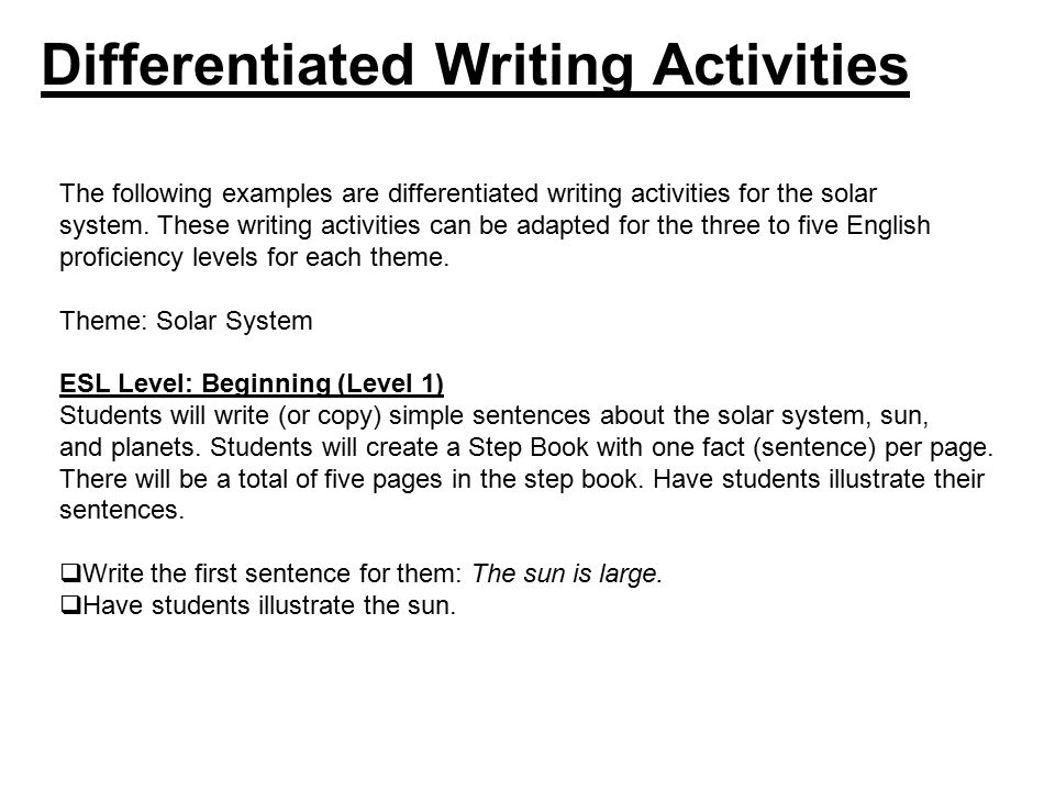 differentiated activities Differentiated instruction is a popular way for educators to reach every student at  their own level differentiation means personalizing content,.