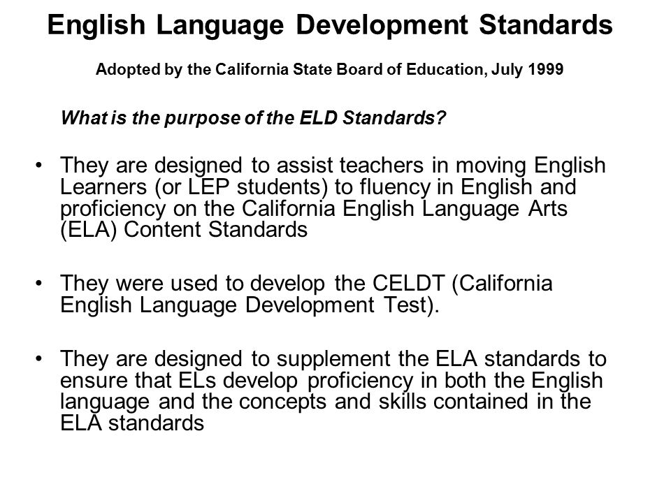california content standards for ell adults hotdogs