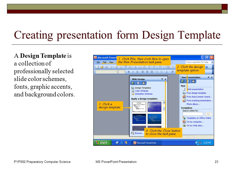 Creating presentation form Design Template