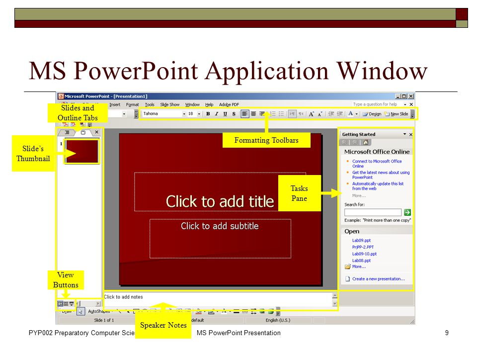 MS PowerPoint Application Window