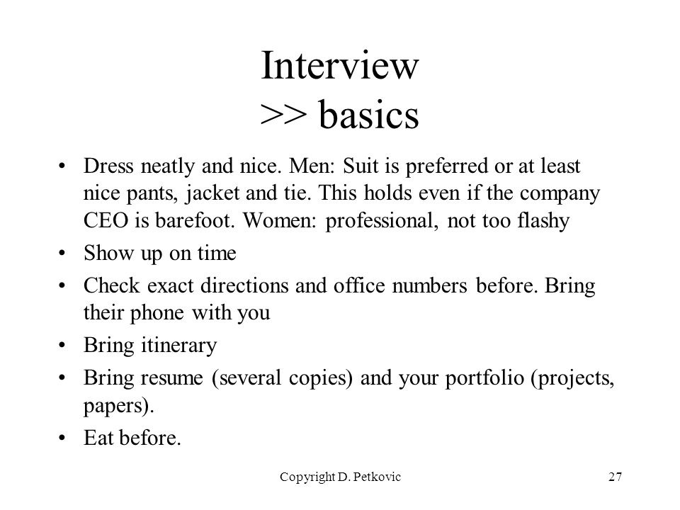 Tips and techniques for industrial job search and interviews ppt 27 interview basics sciox Images