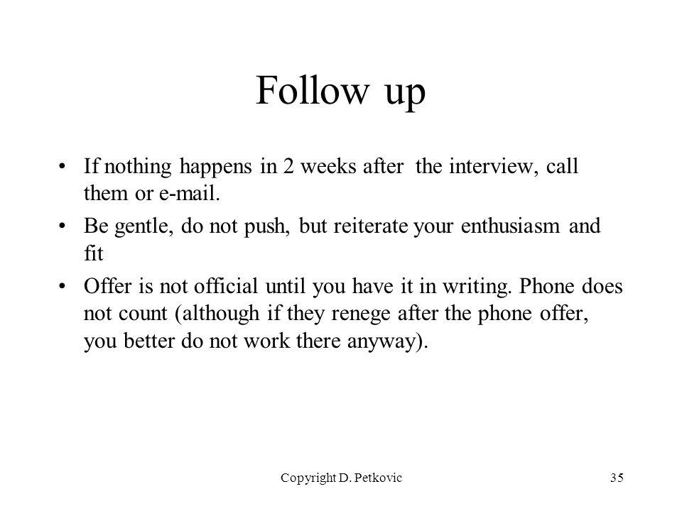 follow up interview call