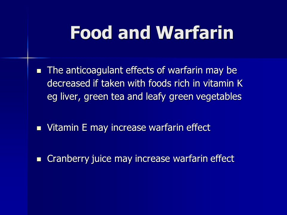 Warfarin and green leafy vegetables