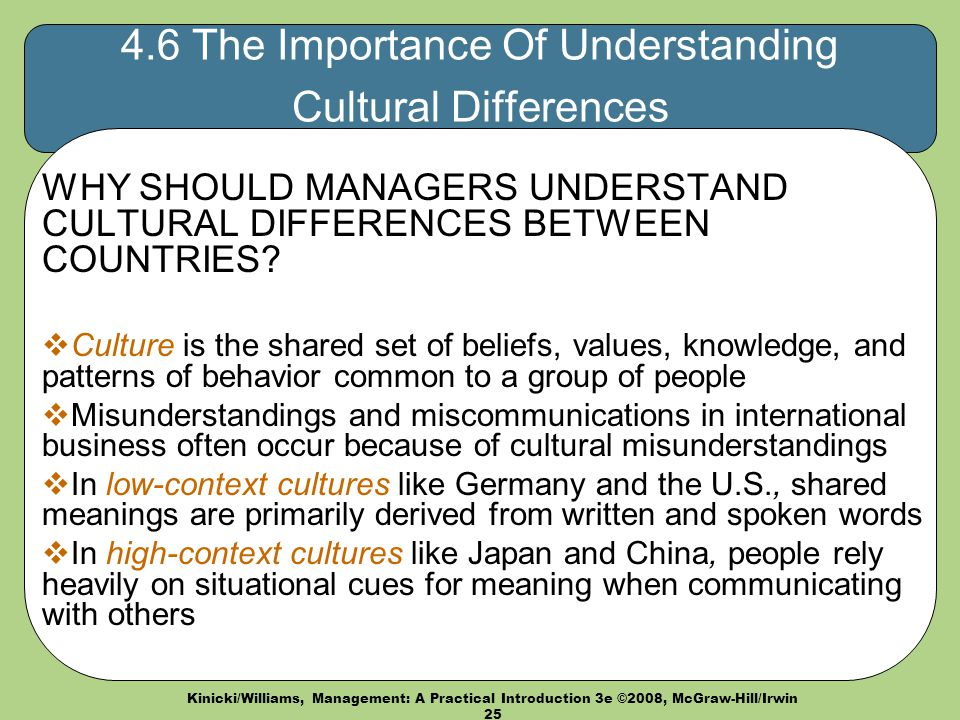 understanding the importance of cultural differences in international business To make understanding culture more difficult understand cultural differences can bear that are important for business owners to be aware of in order to.