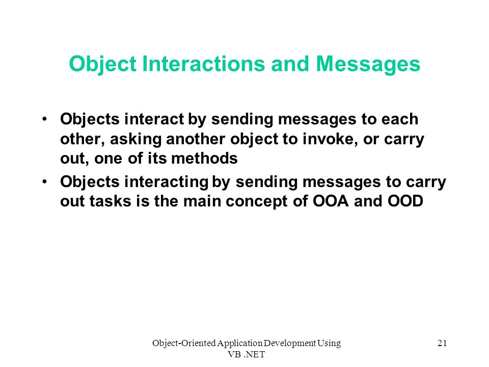 Object Interactions and Messages