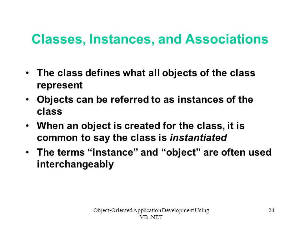 Classes, Instances, and Associations