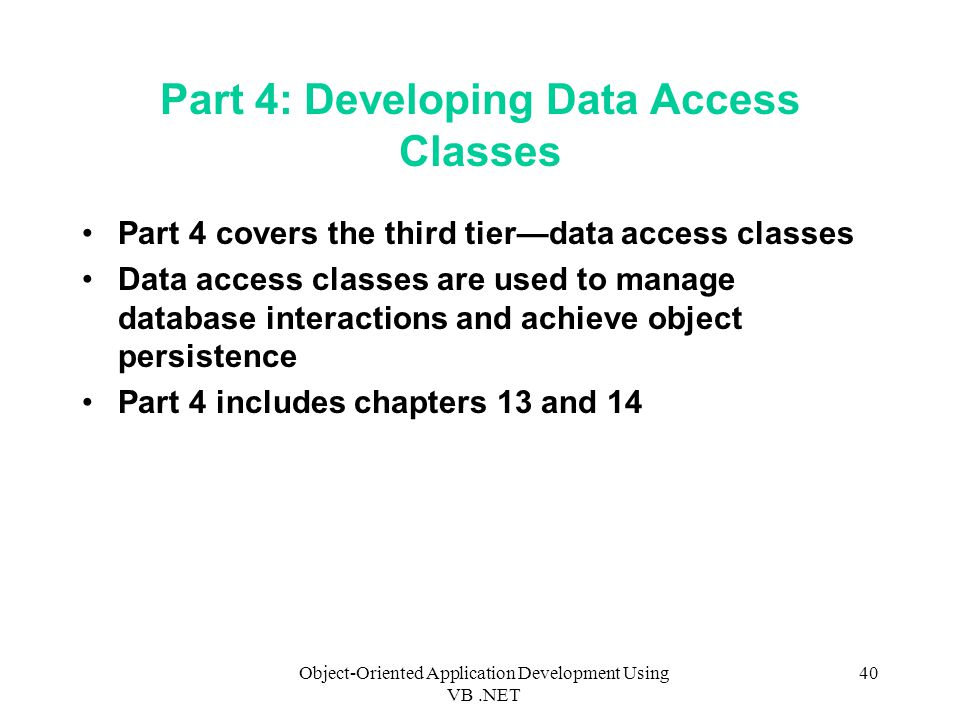 Part 4: Developing Data Access Classes