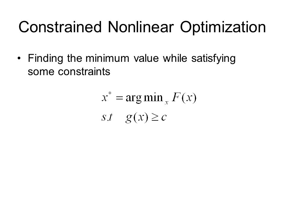 Constrained Nonlinear Optimization