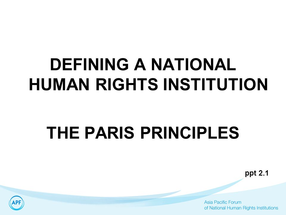 DEFINING A NATIONAL HUMAN RIGHTS INSTITUTION