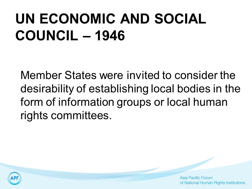 UN ECONOMIC AND SOCIAL COUNCIL – 1946