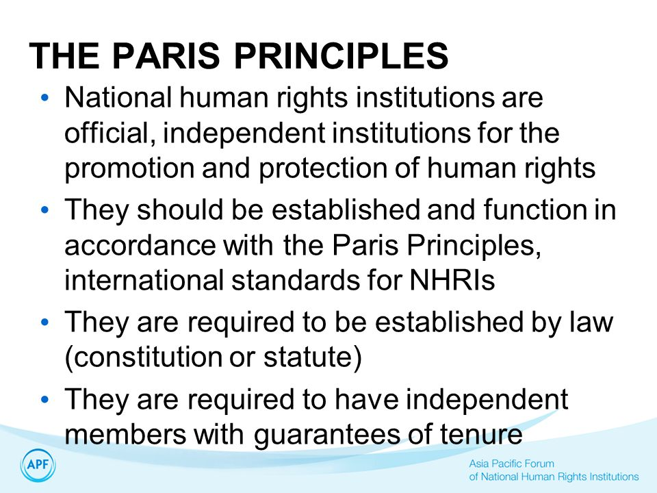 THE PARIS PRINCIPLES National human rights institutions are official, independent institutions for the promotion and protection of human rights.