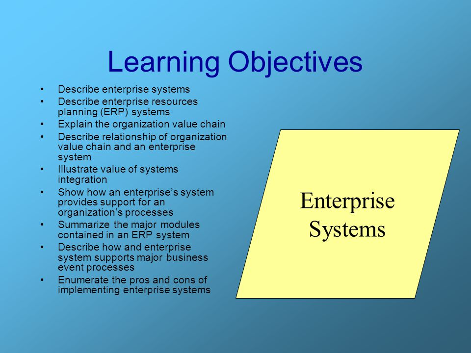 Learning Objectives Enterprise Systems Describe enterprise systems