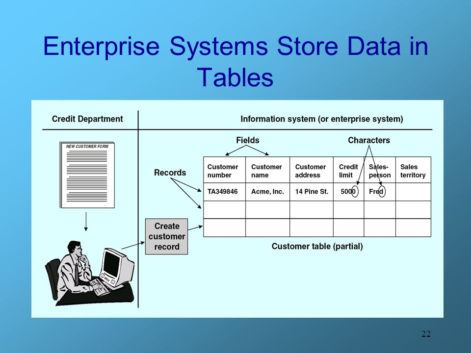 Enterprise Systems Store Data in Tables