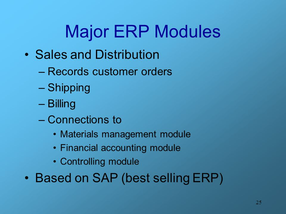 Major ERP Modules Sales and Distribution