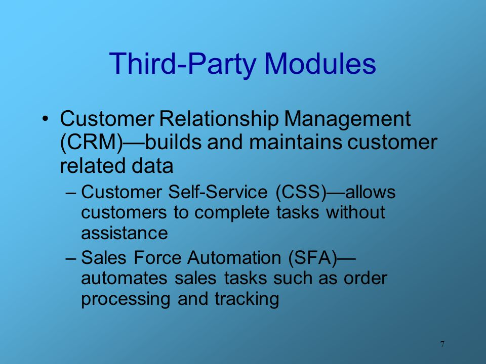 Third-Party Modules Customer Relationship Management (CRM)—builds and maintains customer related data.
