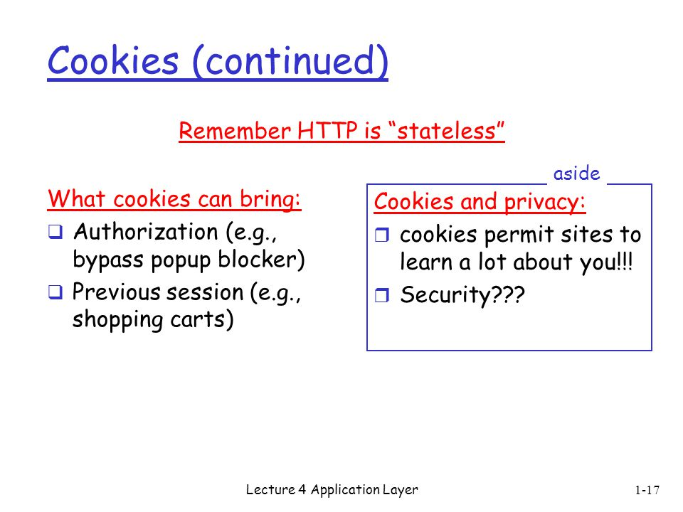 Cookies (continued) Remember HTTP is stateless