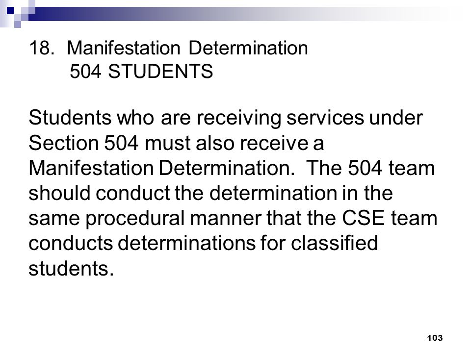 18. Manifestation Determination 504 STUDENTS