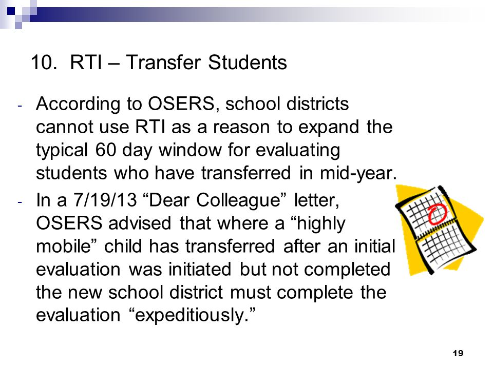 10. RTI – Transfer Students