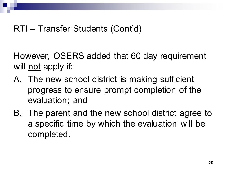 RTI – Transfer Students (Cont'd)