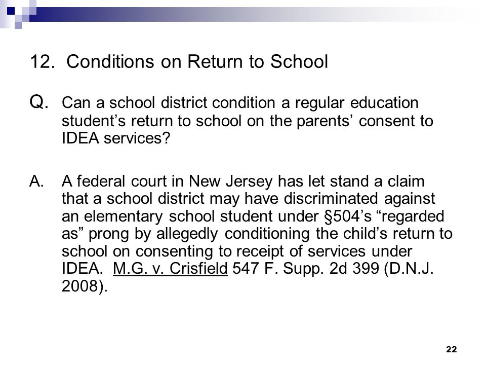 12. Conditions on Return to School